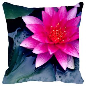 Fabulloso Leaf Designs Fuchsia Pink Lotus Cushion Cover - 16x16 Inches