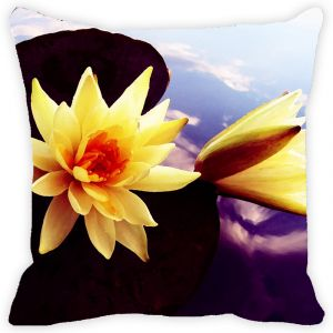 Fabulloso Leaf Designs Yellow Lotus Cushion Cover - 16x16 Inches
