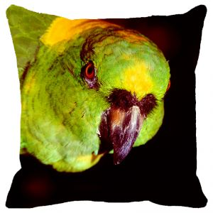 Fabulloso Leaf Designs Green Parrot Cushion Cover - 12x12 Inches