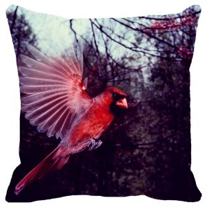 Fabulloso Leaf Designs Coral Flying Bird Cushion Cover - 16x16 Inches