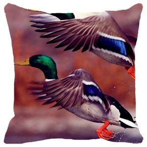 Fabulloso Leaf Designs Blue Green Flying Bird Cushion Cover - 16x16 Inches