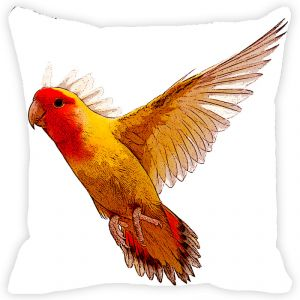 Fabulloso Leaf Designs Yellow & Orange Painted Bird Cushion Cover - 18x18 Inches