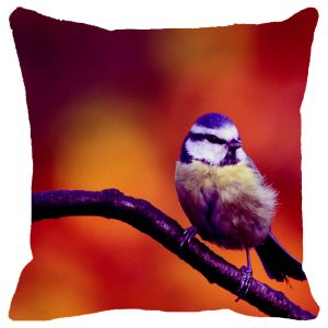 Fabulloso Leaf Designs Purple Bird Cushion Cover - 16x16 Inches