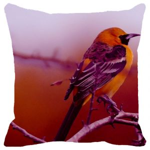 Fabulloso Leaf Designs Yellow & Purple Bird Cushion Cover - 18x18 Inches