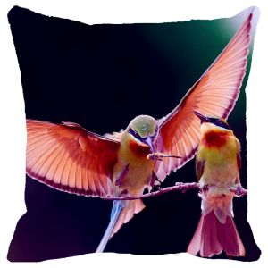 Fabulloso Leaf Designs Shaded Flying Bird Cushion Cover - 16x16 Inches