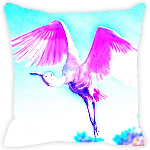 Fabulloso Leaf Designs Pink & Blue Flying Bird Cushion Cover - 18x18 Inches