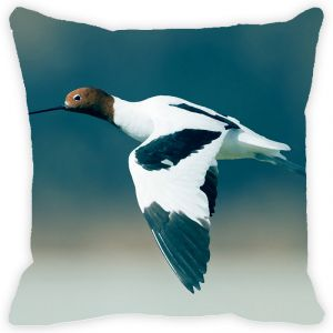 Fabulloso Leaf Designs White & Blue Flying Bird Cushion Cover - 12x12 Inches