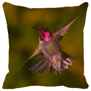 Fabulloso Leaf Designs Pink Flying Bird Cushion Cover - 16x16 Inches