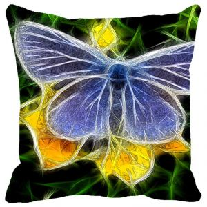 Leaf Designs Yellow & Blue Butterfly Cushion Cover - Code 53862982091