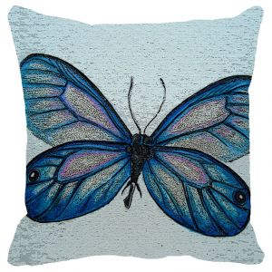 Leaf Designs Blue Grey Butterfly Cushion Cover - Code 53863822091
