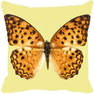 Leaf Designs Mustard Dotted Butterfly Cushion Cover - Code 53863832091