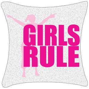 Fabulloso Leaf Designs Girls Rule Pink Cushion Cover-code-53867982012_p