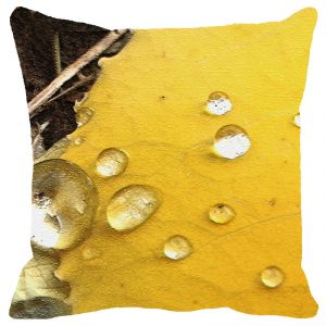 Leaf Designs Yellow Water Drops Cushion Cover - Code 53864652091