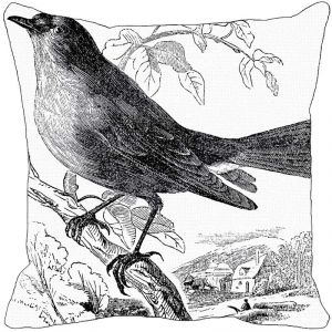 Leaf Designs Black And White Bird Cushion Cover - Code 53863582091