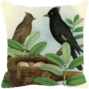 Leaf Designs Black And Brown Bird Cushion Cover - Code 53863672091