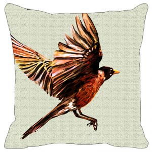 Leaf Designs Multi Colored Bird Cushion Cover - Code 53864832091
