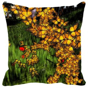 Leaf Designs Yellow Flowers Cushion Cover - Code 53863002091