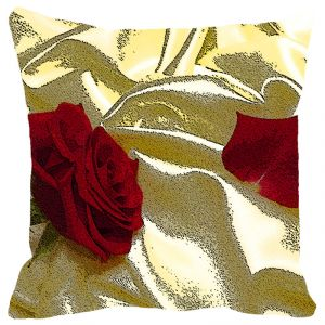 Leaf Designs Red Rose Cushion Cover - Code 53862722091