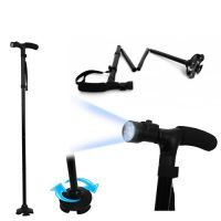 Sobo Trusty Cane Folding, Walking Triple Head Pivoting Base With LED Best For Adults
