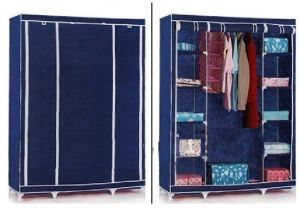 Blue Foldable Wardrobe Almirah Cupboard