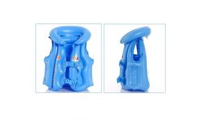 Swim Jacket Kids Children Inflatable Swim Vest Jacket With 3 Valves 2 Quick Release Buckles - For Swimming, Water Sports M Size Blue