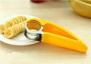 Stainless Steel Banana Slicer Fruit Cutter Cucumber Chopper Salad Kitchen
