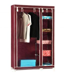 Dark Brown Double Door Foldable Cupboard Almirah