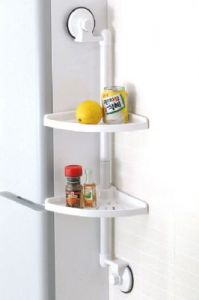 Portable Suction 2-layer Corner Shelf For Bath And Kitchen