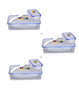 Ski White 800ml Lock And Seal Lunch Box - Set Of 3