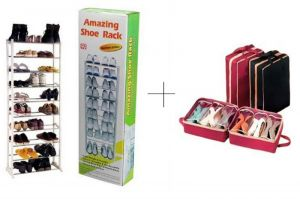 10 Layer Portable Amazing Shoe Rack With Shoe Tote - Amwstsr