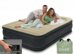 Intex Queen Size Air Bed Fibre Tech Comfort Pillow Rest With Pump