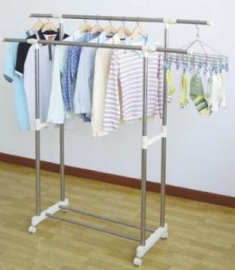 Double Pole Stainless Steel Durable Telescopic Clothes Rack