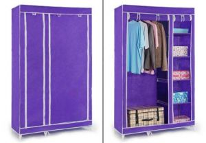 Purple Foldable Wardrobe Cupboard Almirah