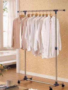 Cloth stands - Portable Single Pole Telescopic Clothes Rack Clothes Dryer Shoe Rack Wheels