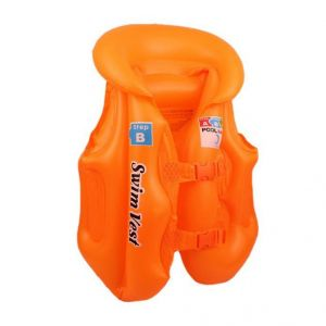 Swim Jacket Kids Children Inflatable Swim Vest Jacket With 3 Valves 2 Quick Release Buckles - For Swimming, Water Sports M Size Orange