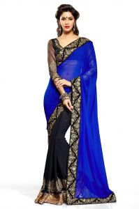 Styloce Georgette Sarees - STYLOCE BLUE HAVY DESIGNER SAREE