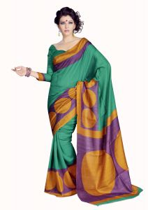 Styloce Women's Clothing - STYLOCE GREEN BHAGALPURI PRINTED SAREE STY-8666_1