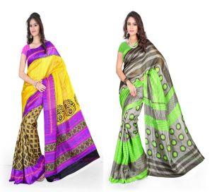 Styloce Silk Sarees - Set Of 2 Bhagalpuri Silk Saree Combo By Styloce. STY-8687-8747