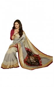 Styloce Silk Sarees - Styloce Beige Color Art Silk Printed Casual Deasigner Saree With Blouse-(Code-STY-8784)