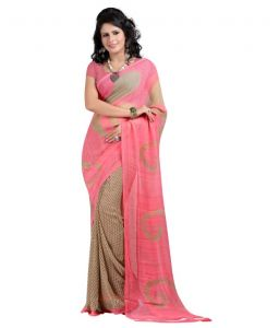Women's Clothing - Styloce Pink Color Georgette Printed Casual Deasigner Saree With Blouse-(Code-STY-8814)