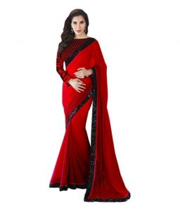 Styloce Bollywood replica sarees and lehengas - STYLOCE RED GEORGETTE BOLLYWOOD STYLE SAREE.STY-8823