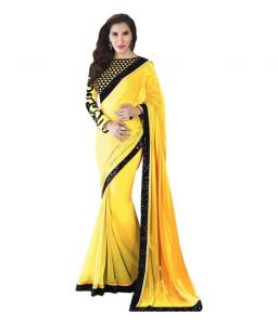 Styloce Bollywood replica sarees and lehengas - STYLOCE YELLOW GEORGETTE BOLLYWOOD STYLE SAREE.STY-8826