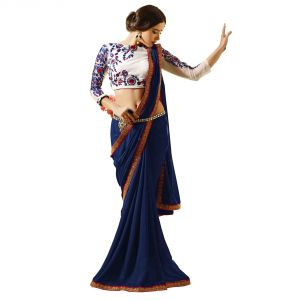 Designer Sarees - Styloce Georgette lace work navy blue saree - 8964