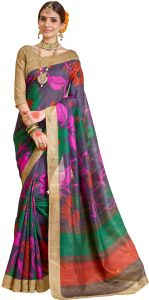 Styloce Women's Clothing - Styloce Printed Art Silk Saree- Multi