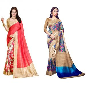 Silk Sarees - Styloce Set Of 2 Bhagalpuri Silk Saree Combo . STY-8972-9069