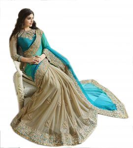Sarees - Styloce Blue And White Net and georgette saree.STY-9078