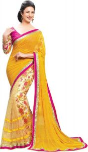 Sarees - Styloce Yellow Georgette Saree.STY-9079