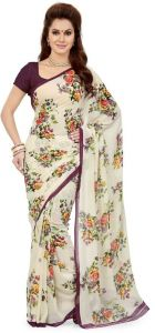Styloce White Georgette Saree (code - Sty-9084-ss1)