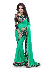 Styloce Georgette Sarees - Styloce green georgette saree.9107
