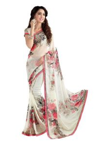 Styloce Georgette White Floral Print Saree. STY-9136